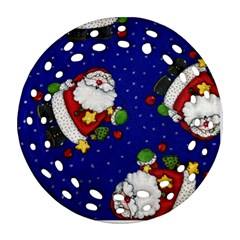 Blue Santas Clause Round Filigree Ornament (2Side) by AnjaniArt