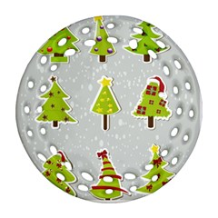 Christmas Elements Stickers Round Filigree Ornament (2side) by AnjaniArt
