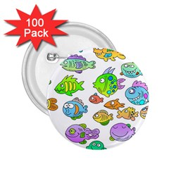 Fishes Col Fishing Fish 2 25  Buttons (100 Pack)  by AnjaniArt