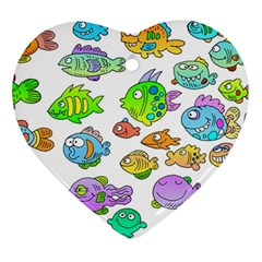 Fishes Col Fishing Fish Heart Ornament (2 Sides) by AnjaniArt