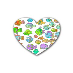 Fishes Col Fishing Fish Heart Coaster (4 Pack)  by AnjaniArt