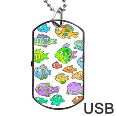 Fishes Col Fishing Fish Dog Tag Usb Flash (one Side) by AnjaniArt