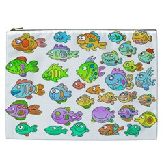 Fishes Col Fishing Fish Cosmetic Bag (xxl)  by AnjaniArt