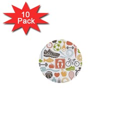 Health Habits Attitudes Hispanic Studied Sport 1  Mini Buttons (10 Pack)  by AnjaniArt