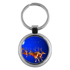 Holidays Christmas Deer Santa Claus Horns Key Chains (round)  by AnjaniArt