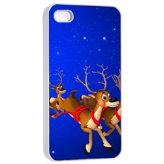 Holidays Christmas Deer Santa Claus Horns Apple Iphone 4/4s Seamless Case (white) by AnjaniArt