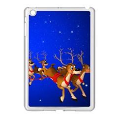 Holidays Christmas Deer Santa Claus Horns Apple Ipad Mini Case (white) by AnjaniArt