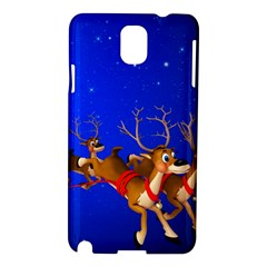 Holidays Christmas Deer Santa Claus Horns Samsung Galaxy Note 3 N9005 Hardshell Case by AnjaniArt