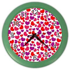 Love Pattern Wallpaper Color Wall Clocks by AnjaniArt