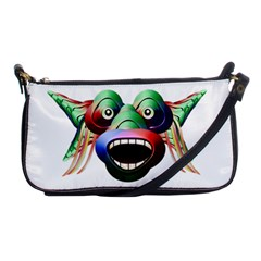Futuristic Funny Monster Character Face Shoulder Clutch Bags by dflcprints