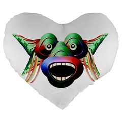 Futuristic Funny Monster Character Face Large 19  Premium Heart Shape Cushions by dflcprints