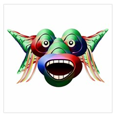 Futuristic Funny Monster Character Face Large Satin Scarf (square) by dflcprints