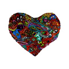 Moster Mask Standard 16  Premium Heart Shape Cushions by AnjaniArt