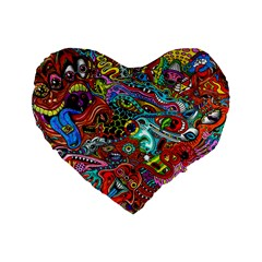 Moster Mask Standard 16  Premium Flano Heart Shape Cushions by AnjaniArt