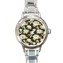 Pattern Rose Round Italian Charm Watch by AnjaniArt
