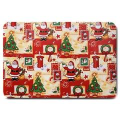 Santa Clause Mail Bird Snow Large Doormat  by AnjaniArt