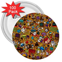 Retro Face 3  Buttons (100 Pack)  by AnjaniArt