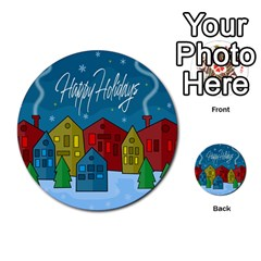 Xmas Landscape Multi Purpose Cards (round)  by Valentinaart