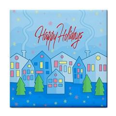 Xmas Landscape   Happy Holidays Tile Coasters by Valentinaart
