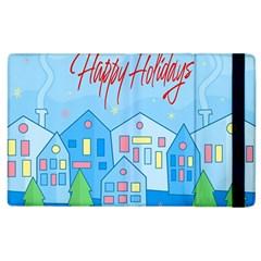 Xmas Landscape   Happy Holidays Apple Ipad 3/4 Flip Case by Valentinaart