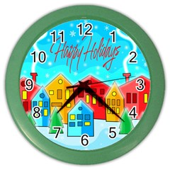 Christmas Magical Landscape  Color Wall Clocks by Valentinaart