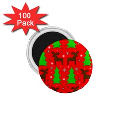 Reindeer And Xmas Trees Pattern 1 75  Magnets (100 Pack)  by Valentinaart