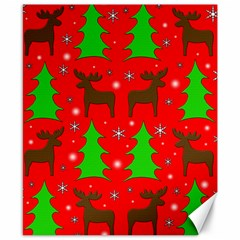 Reindeer And Xmas Trees Pattern Canvas 8  X 10  by Valentinaart