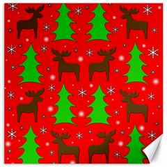 Reindeer And Xmas Trees Pattern Canvas 16  X 16   by Valentinaart