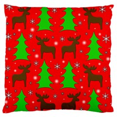 Reindeer And Xmas Trees Pattern Large Flano Cushion Case (one Side) by Valentinaart