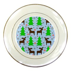 Reindeer And Xmas Trees  Porcelain Plates by Valentinaart