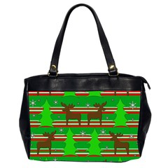 Christmas Trees And Reindeer Pattern Office Handbags (2 Sides)  by Valentinaart