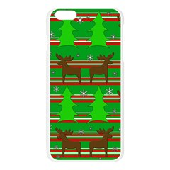 Christmas trees and reindeer pattern Apple Seamless iPhone 6 Plus/6S Plus Case (Transparent) by Valentinaart