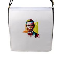 Abraham Lincoln Flap Messenger Bag (l)  by bhazkaragriz