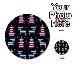 Blue And Pink Reindeer Pattern Multi Purpose Cards (round)  by Valentinaart