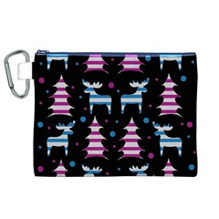 Blue And Pink Reindeer Pattern Canvas Cosmetic Bag (xl) by Valentinaart