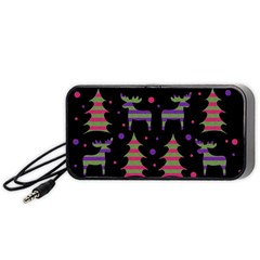 Reindeer magical pattern Portable Speaker (Black)  by Valentinaart