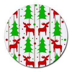 Reindeer Elegant Pattern Round Mousepads by Valentinaart