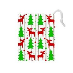 Reindeer Elegant Pattern Drawstring Pouches (medium)  by Valentinaart