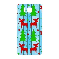 Xmas Reindeer Pattern   Blue Samsung Galaxy Alpha Hardshell Back Case by Valentinaart