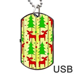 Xmas Reindeer Pattern   Yellow Dog Tag Usb Flash (two Sides)  by Valentinaart