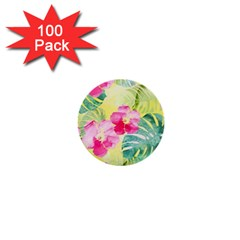 Tropical Dream Hibiscus Pattern 1  Mini Buttons (100 Pack)  by DanaeStudio