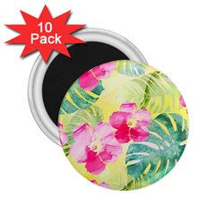 Tropical Dream Hibiscus Pattern 2 25  Magnets (10 Pack)  by DanaeStudio