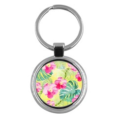 Tropical Dream Hibiscus Pattern Key Chains (round)  by DanaeStudio