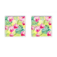 Tropical Dream Hibiscus Pattern Cufflinks (square) by DanaeStudio