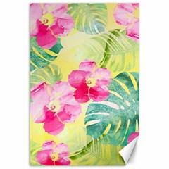 Tropical Dream Hibiscus Pattern Canvas 24  X 36  by DanaeStudio