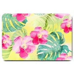 Tropical Dream Hibiscus Pattern Large Doormat  by DanaeStudio
