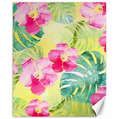 Tropical Dream Hibiscus Pattern Canvas 11  X 14   by DanaeStudio