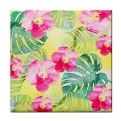 Tropical Dream Hibiscus Pattern Face Towel by DanaeStudio