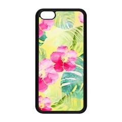 Tropical Dream Hibiscus Pattern Apple Iphone 5c Seamless Case (black) by DanaeStudio
