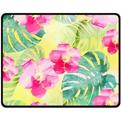Tropical Dream Hibiscus Pattern Double Sided Fleece Blanket (medium)  by DanaeStudio